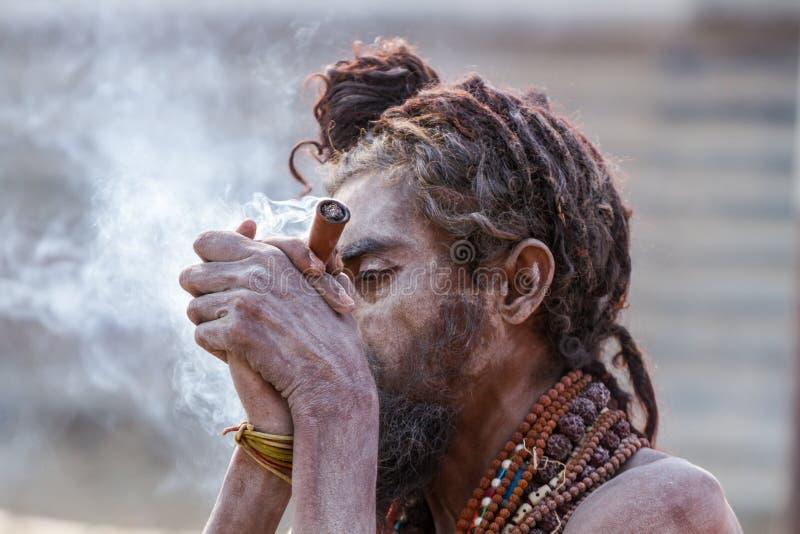 Download Un Sadhu Hindú Que Fuma Un Tubo De Hachís - La India Foto de archivo editorial - Imagen de peregrinaje, religioso: 42428908