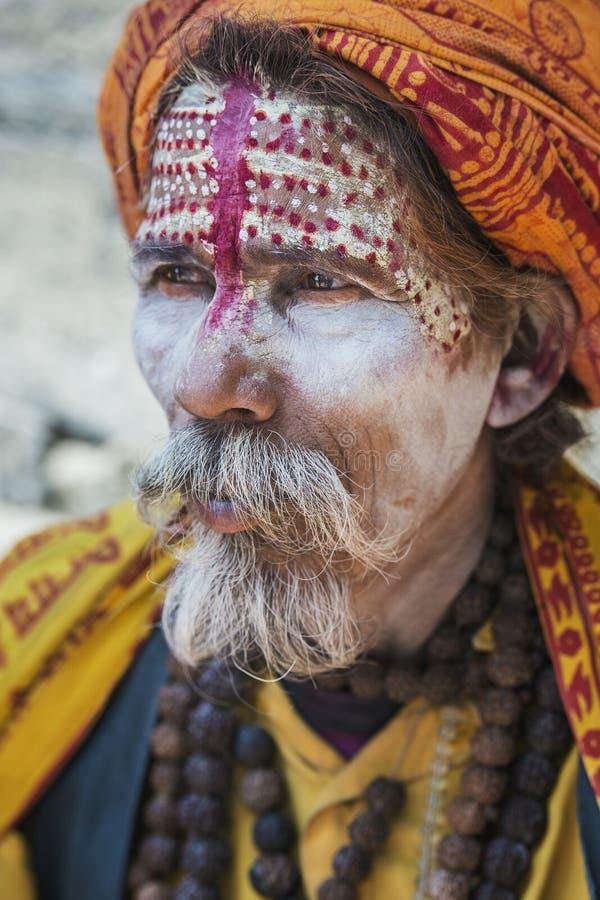 Un sadhy en el templo de Pashupatinath en Katmandu fotos de archivo
