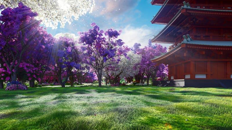 Un Sakura florece en primavera en el fondo de montañas, del templo japonés y de campos de flores Viaje y aventura ilustración del vector