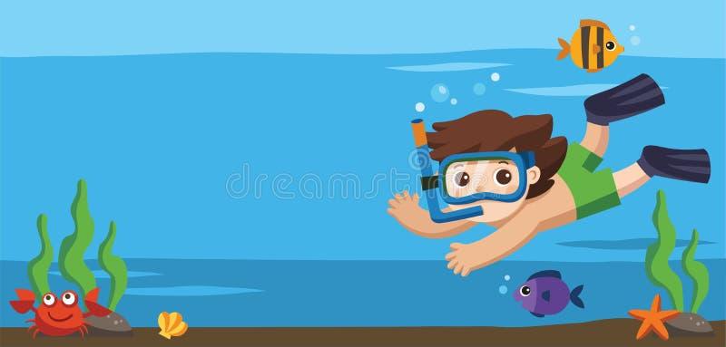 Un salto del niño pequeño con los pescados debajo del océano ilustración del vector