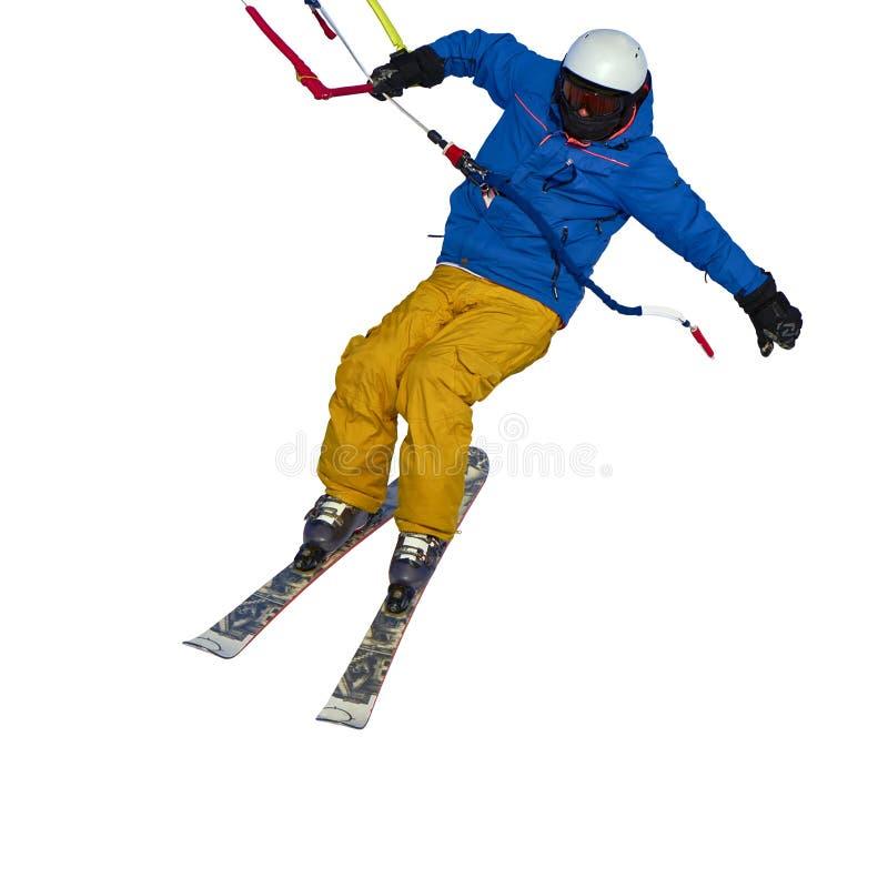 Un salto kiting practicante de la nieve del deportista, aislado en el fondo blanco fotografía de archivo libre de regalías