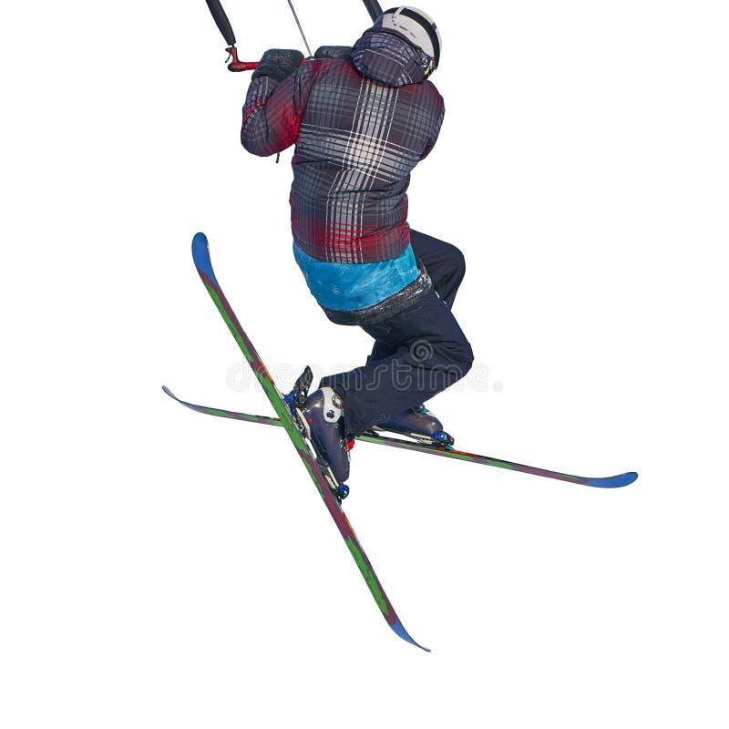 Un salto kiting practicante de la nieve del deportista, aislado en el fondo blanco foto de archivo