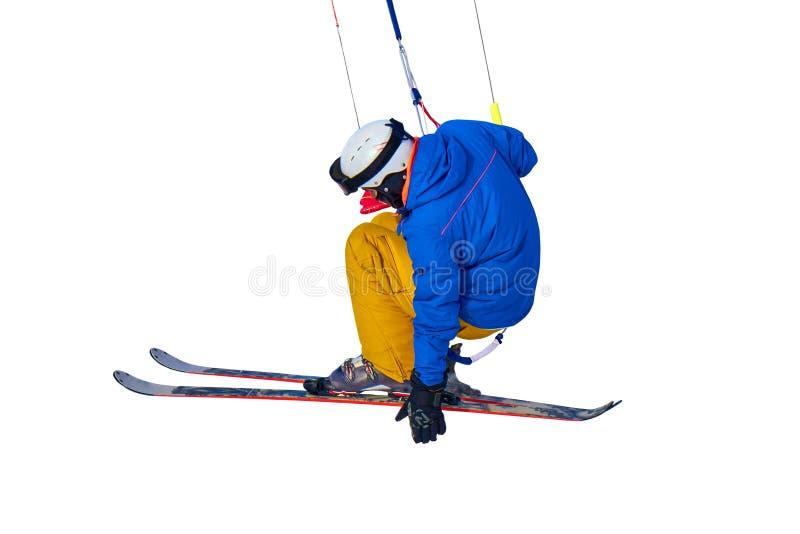 Un salto kiting practicante de la nieve del deportista, aislado en el fondo blanco Primer foto de archivo