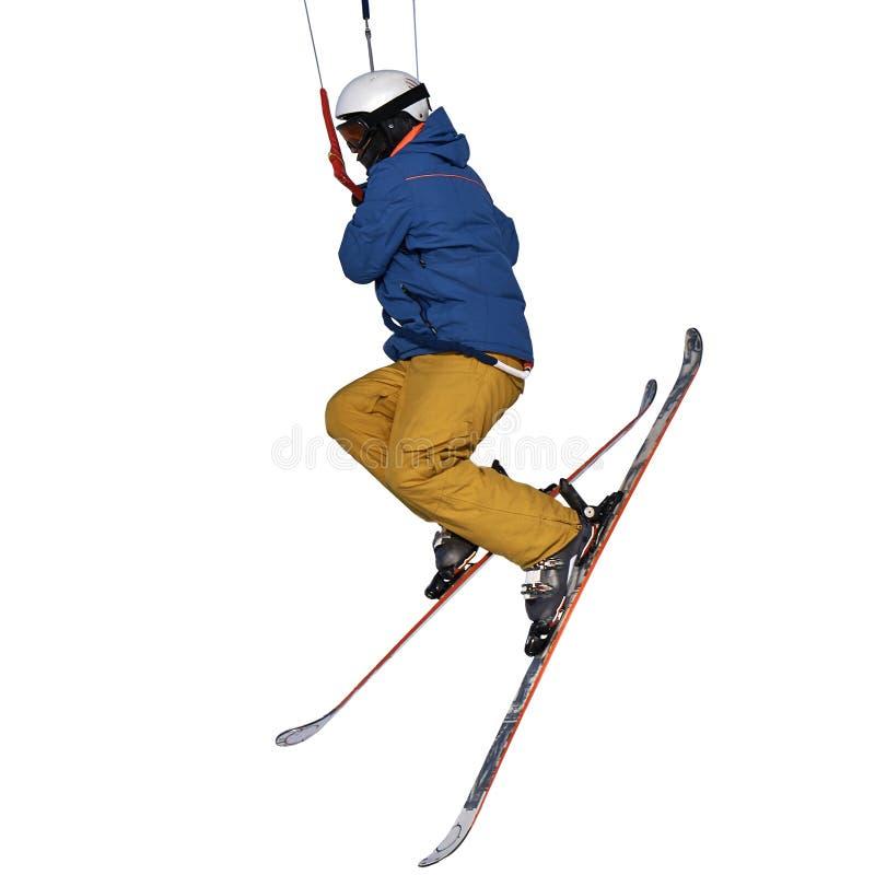 Un salto kiting practicante de la nieve del deportista, aislado en el fondo blanco Primer fotos de archivo libres de regalías