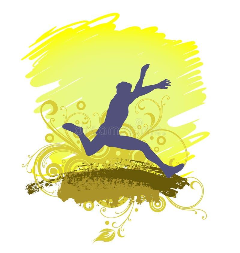 Un salto in lungo dell'uomo, atletica, siluetta royalty illustrazione gratis