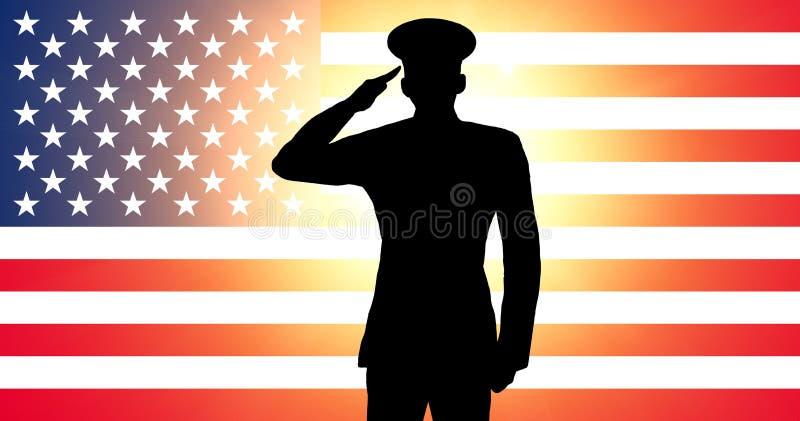 Un saluto americano del soldato royalty illustrazione gratis