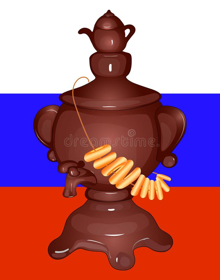 Un samovar avec le thé, bagels, drapeau russe russe Affiche, illustration illustration stock