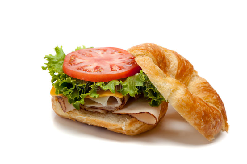 Un sandwich à dinde sur un croissant images stock