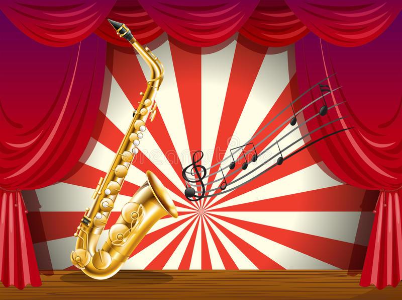 Un sassofono e le note musicali nella fase illustrazione vettoriale