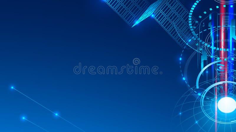 Un satélite de comunicación en espacio transmite una señal Fondo geométrico tecnológico del extracto ilustración del vector