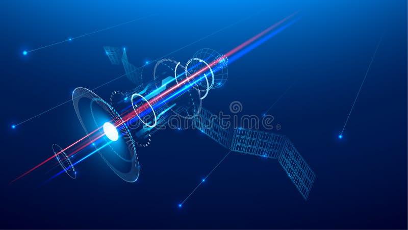 Un satélite de comunicaciones está volando en espacio sobre la tierra ilustración del vector