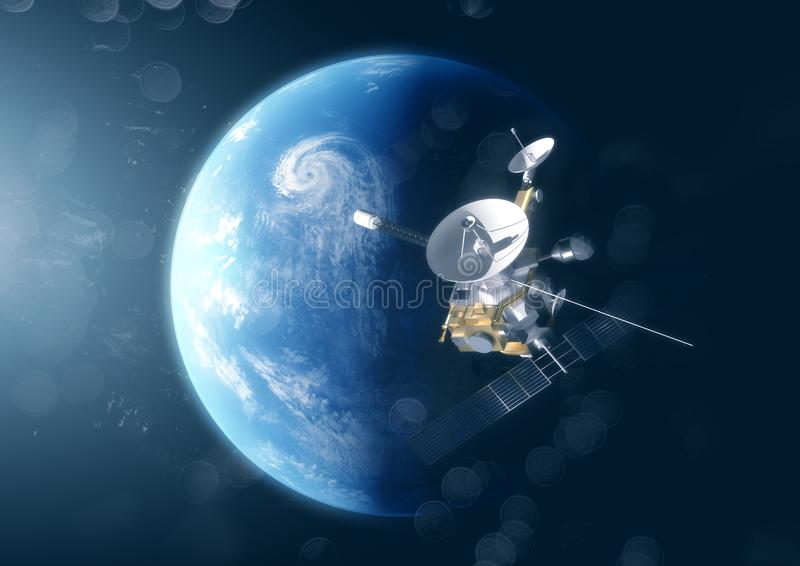 Un satellite sopra il pianeta Terra immagine stock libera da diritti