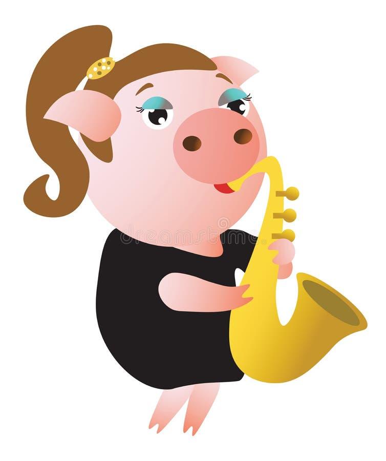 Un saxophone porcin mignon de jeux femelle illustration libre de droits