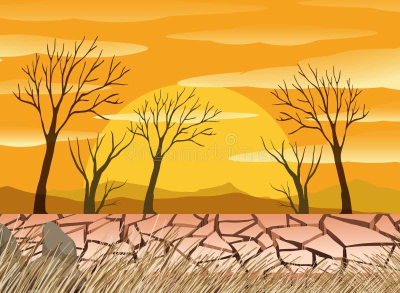 Un scence del desierto de la sequía ilustración del vector
