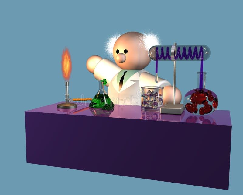 Un scientifique considérant son expérience sur l'établi illustration de vecteur