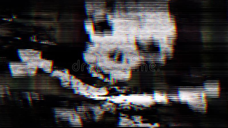 Un scull abstracto del pirata en la pantalla de la PC fotografía de archivo libre de regalías
