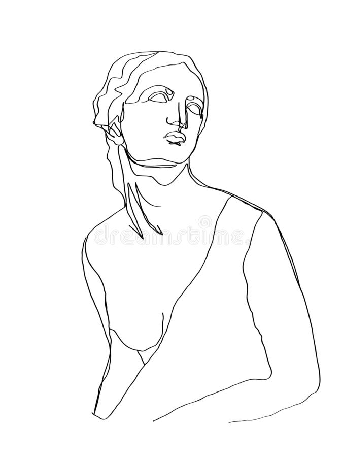 Un scultura di schizzo del disegno a tratteggio Singola linea arte moderna, contorno estetico E royalty illustrazione gratis