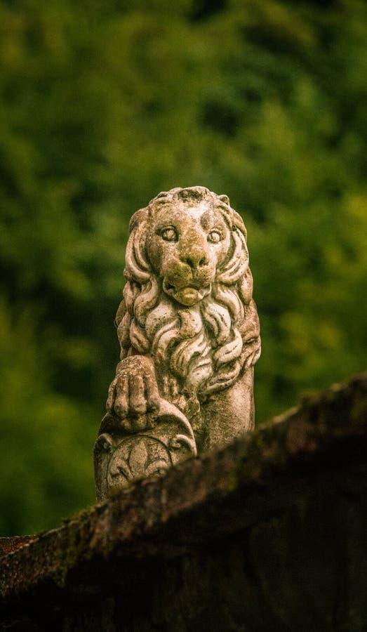 Un scuplture de piedra del león en una ciudad rumana fotografía de archivo
