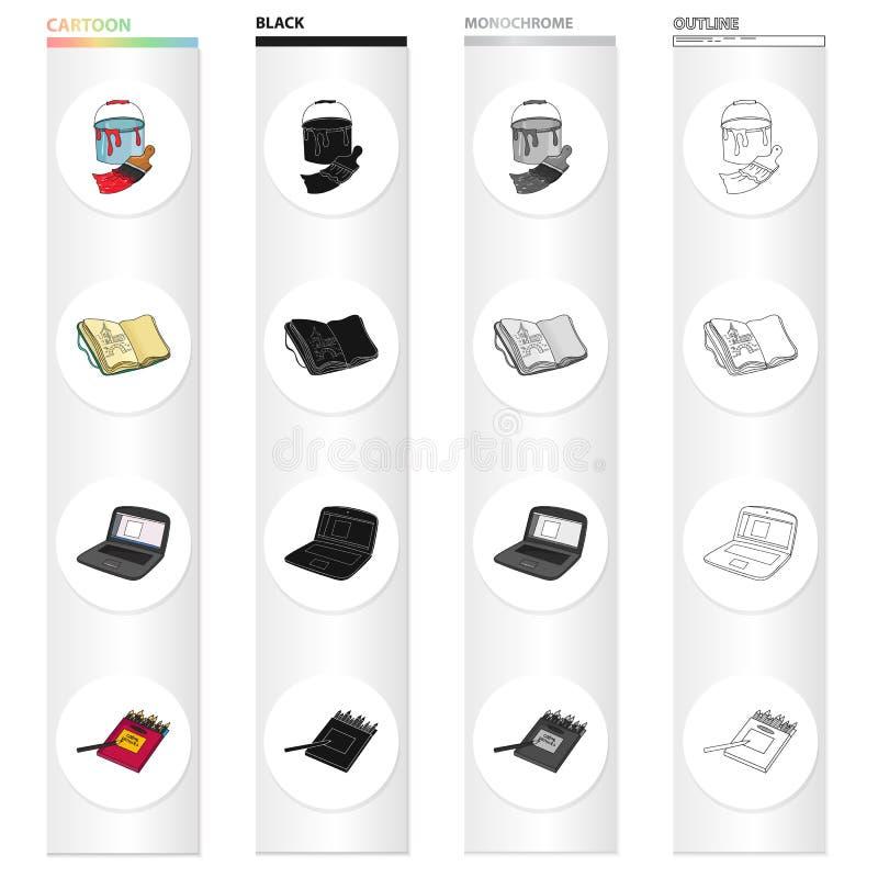 Un seau avec la peinture et une brosse, un carnet pour des dessins, un carnet du ` s d'artiste, une boîte de crayons colorés Arti illustration de vecteur