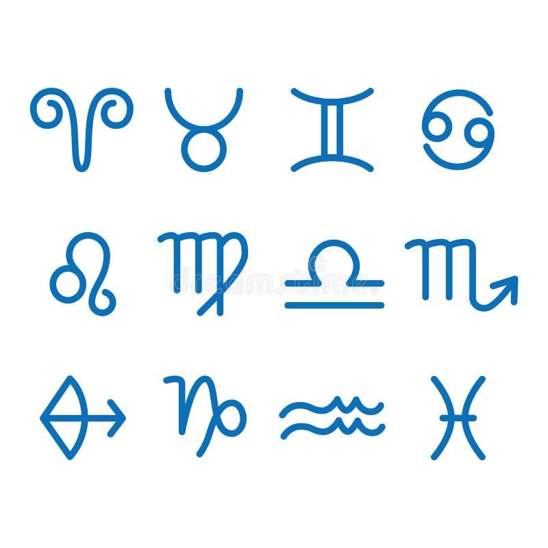 Un segno di 12 zodiaci per astrologia Stile del profilo Insieme delle icone semplici Blu sul vettore bianco del fondo illustrazione di stock