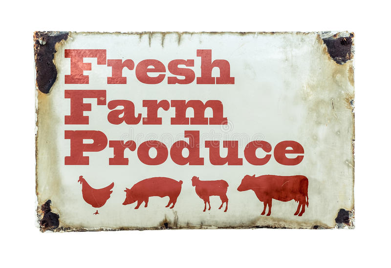 Un segno fresco dei prodotti dell'azienda agricola fotografie stock