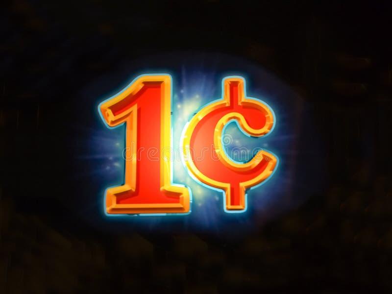 Un segno illuminato luminoso di una denominazione del centesimo immagine stock