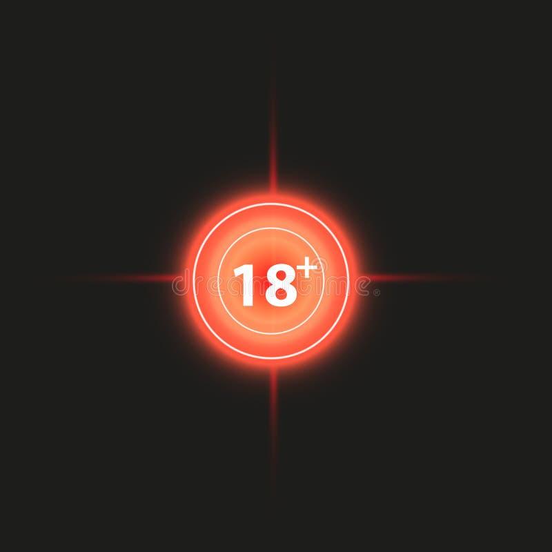 un segno più di 18 anni Gli adulti soddisfanno l'icona sul fondo delle icone dell'obiettivo Icona del Crosshair Illustrazione di  illustrazione di stock