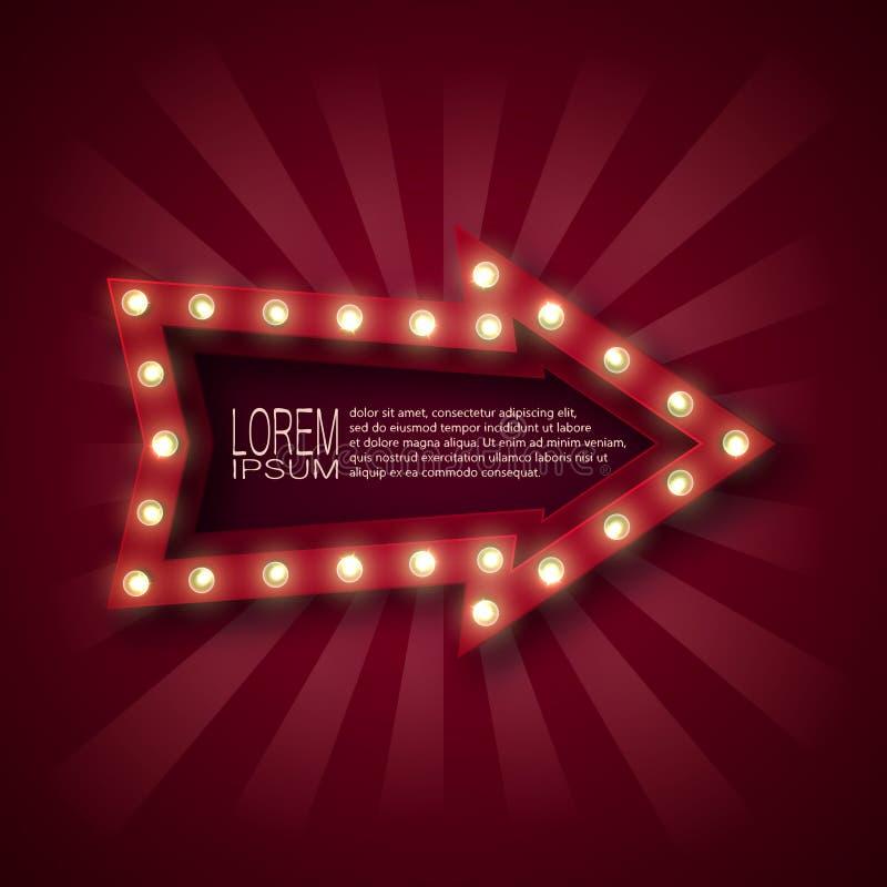 Un segno promozionale attirare i clienti Puntatore a freccia con le lampadine sul contorno, nei raggi rossi e bianchi Su un backg illustrazione di stock