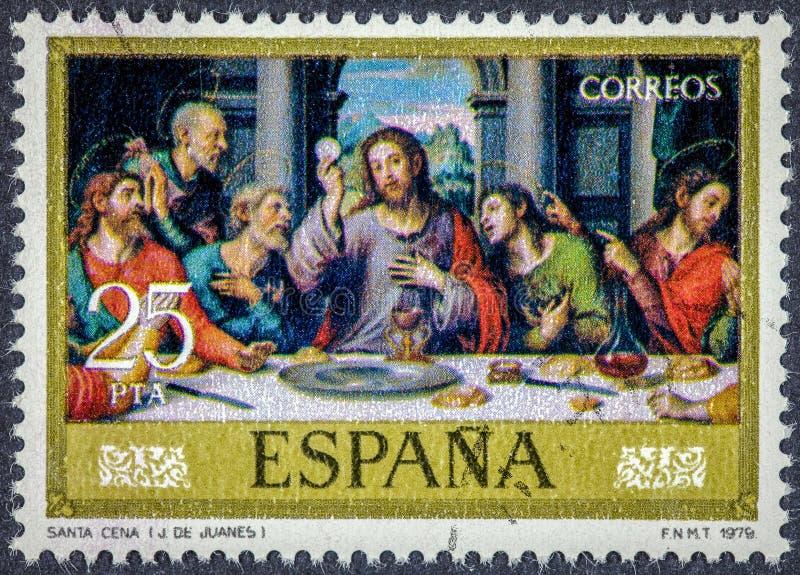 Un sello impreso en España muestra última cena de Juan de Juanes imágenes de archivo libres de regalías