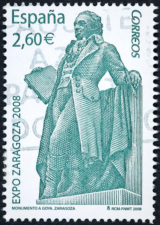 Un sello impreso en España muestra el monumento a Francisco de Goya y Lucientes foto de archivo