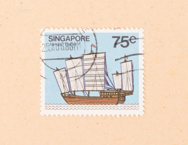 Un sello impreso en Singapur muestra a un comerciante de Jiangsu, circa 1986 imagenes de archivo