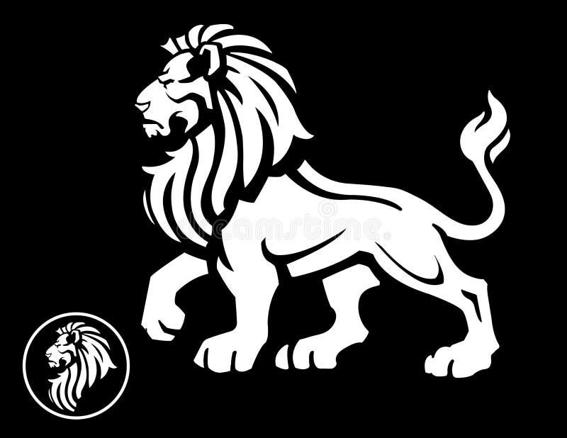 Profilo della mascotte del leone sul nero illustrazione vettoriale