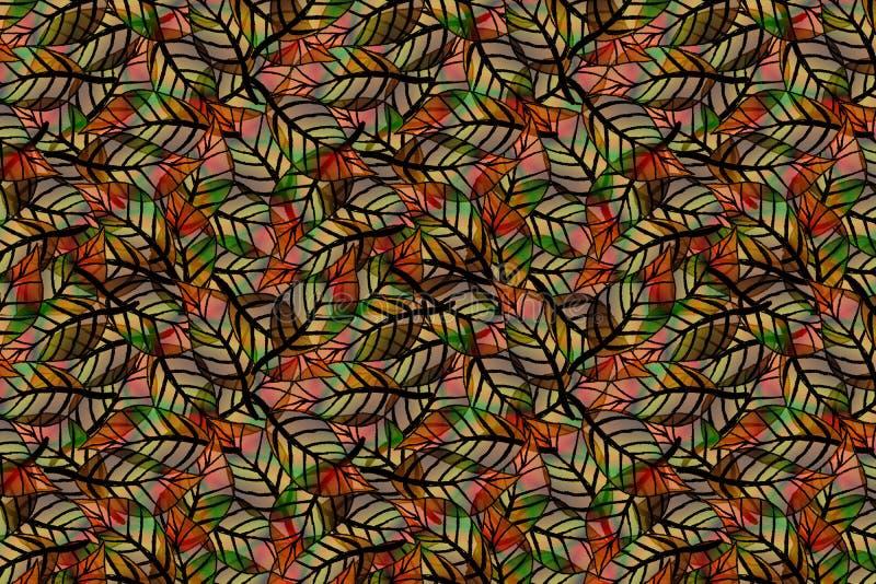 Un senza cuciture, ripetendo modello delle foglie colorate fotografia stock
