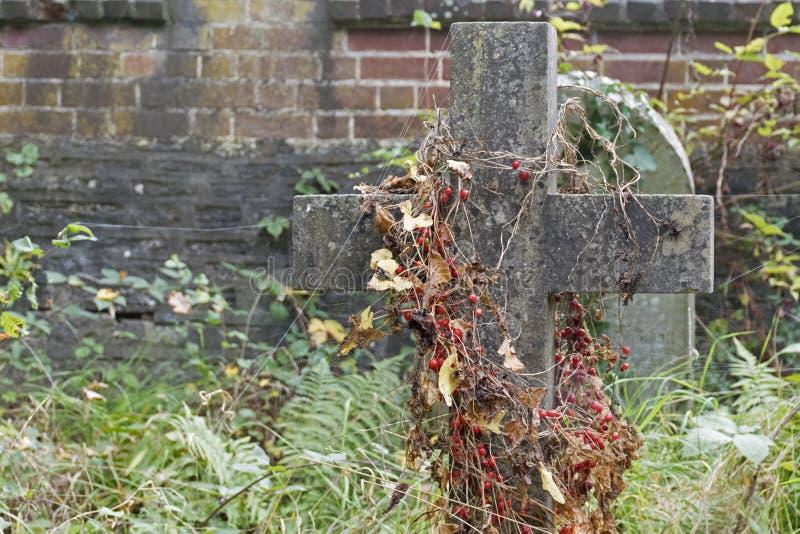 Un sepulcro overgrown fotografía de archivo