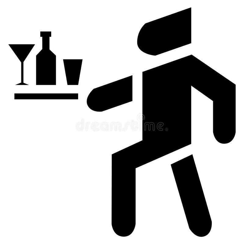Un serveur avec la nourriture sur un plateau sert un fond d'icône de banquet illustration de vecteur