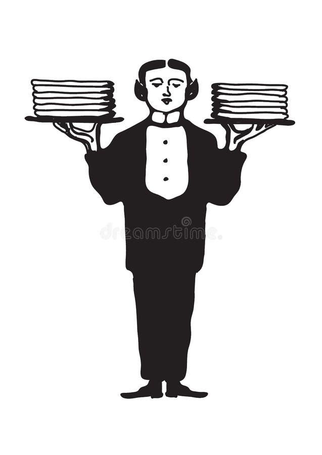 Un serveur dans un costume tient un plateau Un serveur avec les plats propres Illustration de vecteur illustration libre de droits