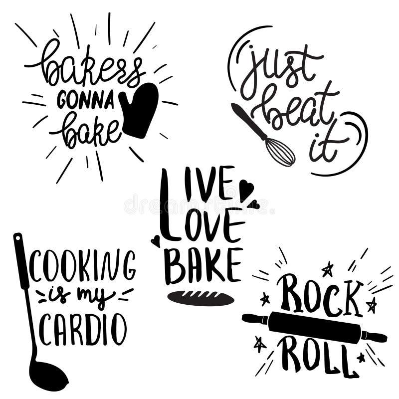 Un set di scritte a mano, di tipo divertente, per la cucina o il poster del ristorante royalty illustrazione gratis
