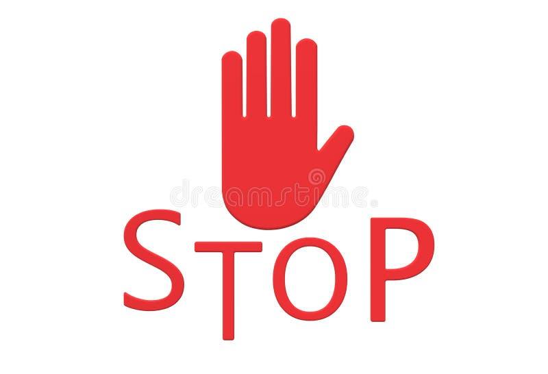 Un signage rouge de halte d'arrêt illustration libre de droits