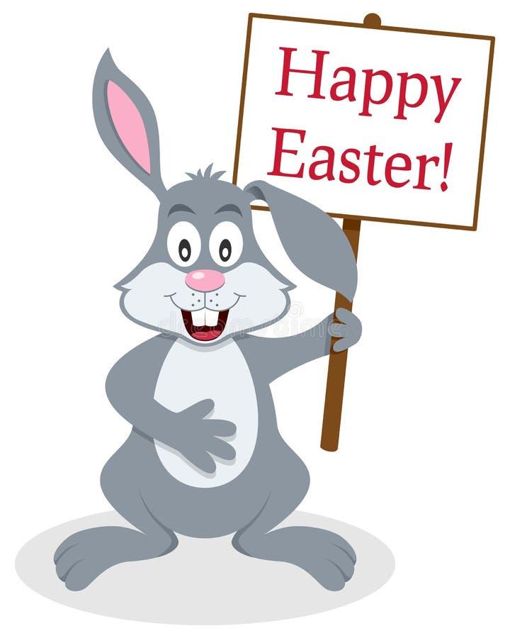 Un signe de Bunny Rabbit Holding Happy Easter illustration libre de droits