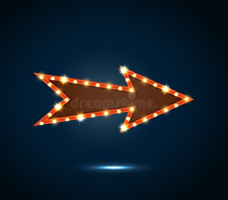 Un signe de flèche avec les ampoules sur le fond bleu illustration stock