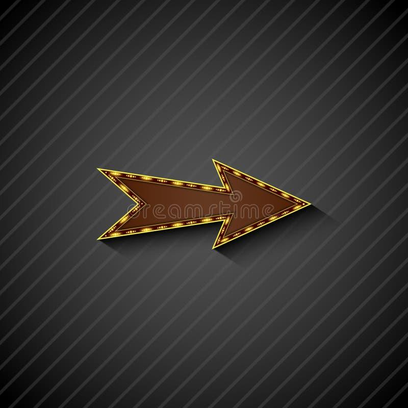 Un signe de flèche avec les ampoules sur le fond noir illustration stock
