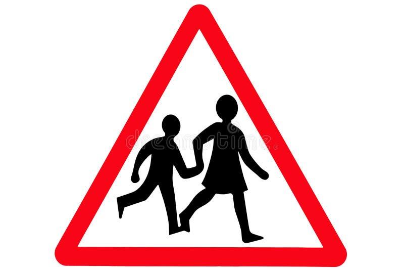 Un signe triangulaire rouge de croisement illustration stock