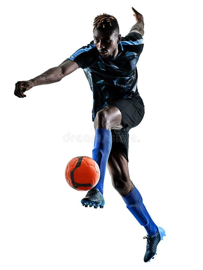 Un silhouet bianco del fondo isolato uomo africano del calciatore immagini stock libere da diritti