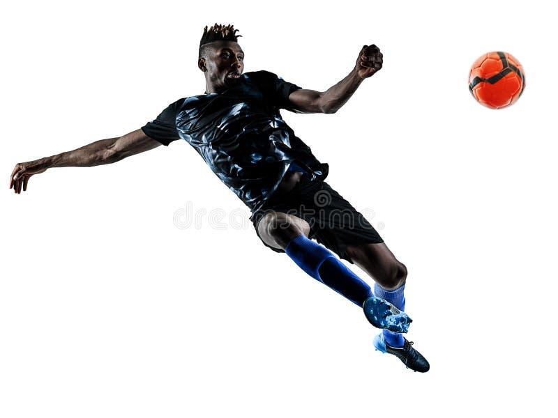 Un silhouet bianco del fondo isolato uomo africano del calciatore immagine stock libera da diritti