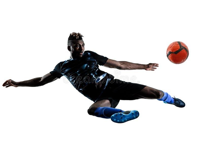 Un silhouet blanc de fond d'isolement par homme africain de footballeur photographie stock libre de droits