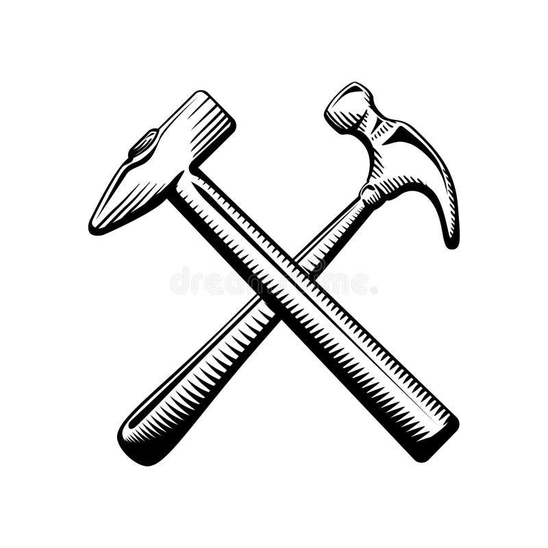 Un simbolo attraversato di due martelli illustrazione di stock