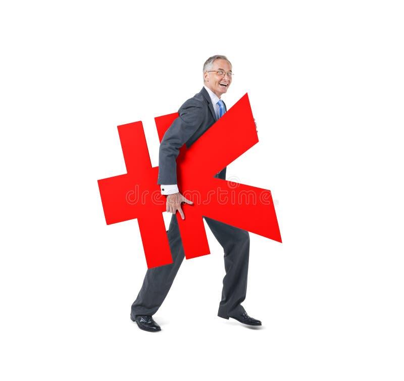 Un simbolo di Holding Japanese Currency dell'uomo d'affari immagini stock libere da diritti