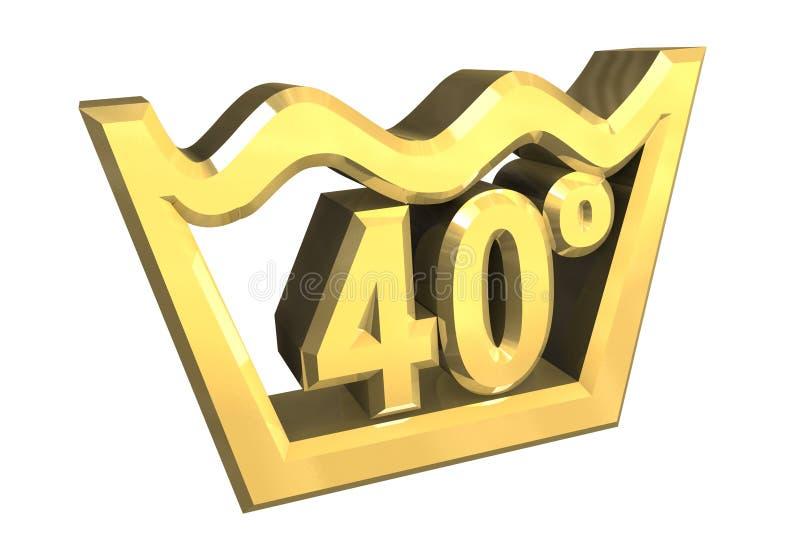 Un simbolo di lavaggio di 40 gradi in oro ha isolato - 3D illustrazione vettoriale