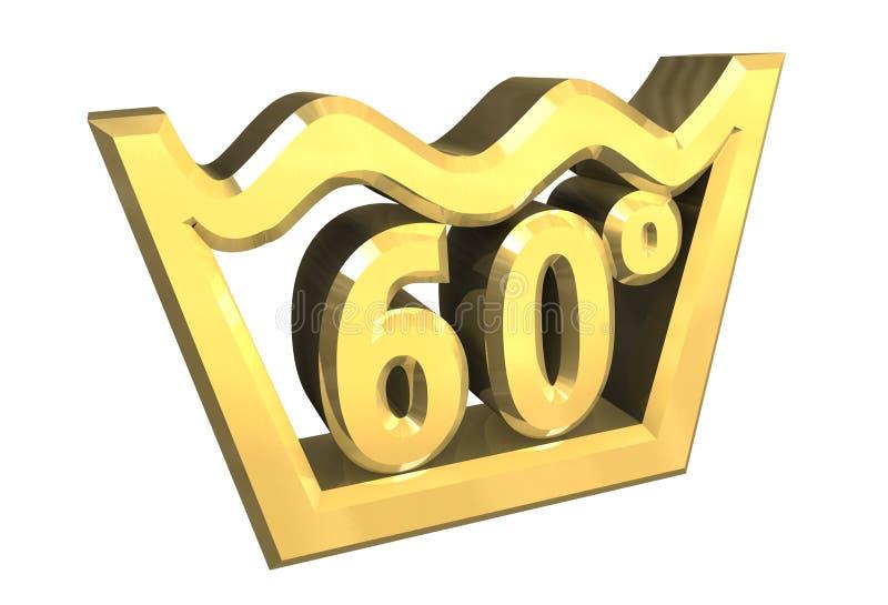 Un simbolo di lavaggio di 60 gradi in oro ha isolato - 3D illustrazione di stock