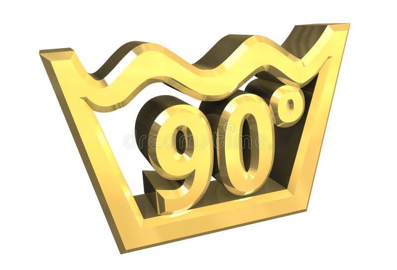 Un simbolo di lavaggio di 90 gradi in oro ha isolato - 3D royalty illustrazione gratis